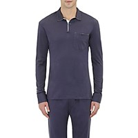 Barneys New York Men's Long Sleeve Polo Shirt Navy