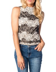 Kensie Embroidered Lace Top Black White