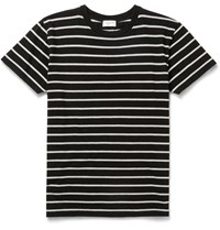 Saint Laurent Slim Fit Striped Cotton Jersey T Shirt Black
