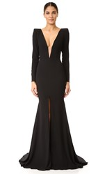 Alex Perry Francoise Satin Crepe V Sleeve Gown Black