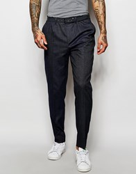 Asos Smart Trousers With Pleats And Side Zip In Navy Navy