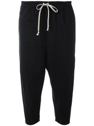 Rick Owens Drkshdw Drop Crotch Cropped Trousers Black