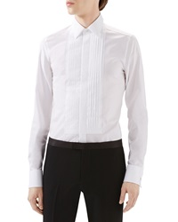 Gucci White Tux Pleated Bib Shirt W French Cuffs