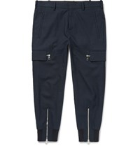 Neil Barrett Tapered Stretch Cotton Blend Trousers Navy