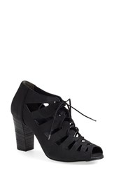 Women's Paul Green 'Jansen' Lace Up Block Heel Sandal Black Leather