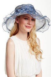 Something Special Hats Bow Accent Floral Print Organza Hat Blue