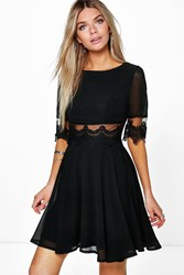 Boohoo Lace And Mesh Insert Skater Dress Black