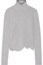 Marni Ribbed Wool Blend Turtleneck Sweater Gray