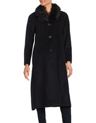 Jones New York Faux Fur Trimmed Long Peacoat Black