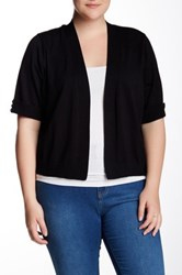 Cable And Gauge Elbow Sleeve Cuffed Shrug Plus Size Black