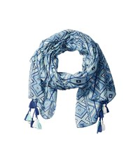 San Diego Hat Company Bss1650 Lightweight Scarf With All Over Print And Tassels Blue Scarves