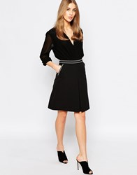 Warehouse Contrast Stitch Pocket Skirt Black