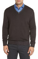 Robert Talbott Men's Merino Wool V Neck Sweater Coffee