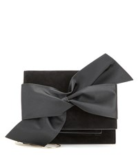 Victoria Beckham Bow Suede And Satin Shoulder Bag Black