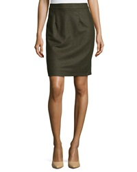 Nanette Lepore Wool Blend Pencil Skirt Army