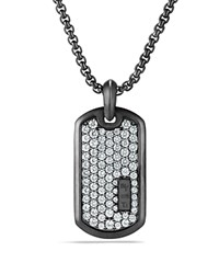 David Yurman Pave Tag With Grey Sapphire In Black Titanium