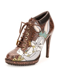 Looney Tunes Leather Stiletto Bootie Brown Multi Moschino