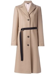 Jil Sander Navy Belted Buttoned Coat Nude And Neutrals
