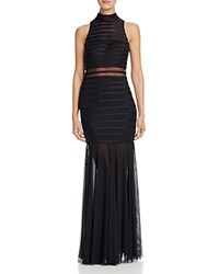 Aqua Mock Neck Gown Black