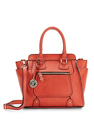 London Fog Small Contrast Tipped Faux Leather Satchel Tigerlily