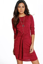 Boohoo Marl Knit Tie Front Bodycon Dress Red