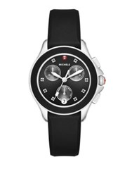 Michele Cape Chronograph Crystal Stainless Steel And Silicone Strap Watch Black