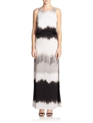 Halston Dip Dyed Layered Maxi Dress Vapor Drip Dye Print