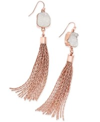 Inc International Concepts Druzy Crystal Tassel Earrings Only At Macy's White