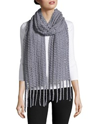 Collection 18 Open Knit Fringed Scarf Grey