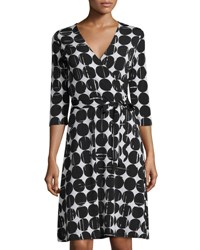 Neiman Marcus 3 4 Sleeve Polka Dot Perfect Wrap Dress Black Moon