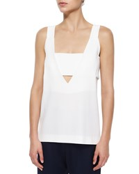 Derek Lam 10 Crosby Deep V Neck Tank With Band Size 10 Soft White