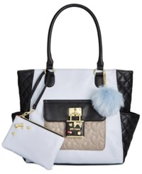 Betsey Johnson 2 In 1 Pin Tote With Pouch Only At Macy's Minty Blue