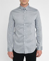 M.Studio Grey Henri Plain Effect Chevron Extra Slim Fit Cotton Shirt