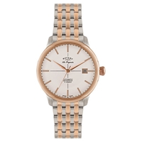 Rotary Gb90061 06 Men's Les Originales Stainless Steel Two Tone Automatic Watch Silver Rose Gold