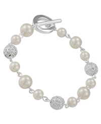 Carolee Bracelet Glass Pearl And Crystal Fireball