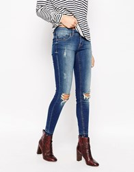 Only Coral Distressed Jeans Dark Blue Denim