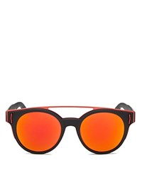Givenchy Rave Collection Round Sunglasses With Brow Bar 50Mm Black Red Orange Mirror