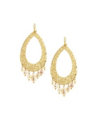 Nakamol Golden Pearl Drop Earrings White