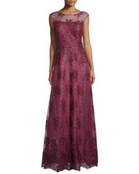 Kay Unger New York Cap Sleeve Sequined Gown Wine