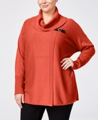 Jm Collection Plus Size Cowl Neck Poncho Only At Macy's Rusty Red