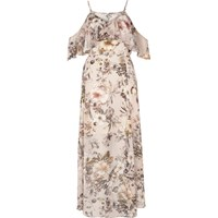 River Island Womens Cream Floral Print Cold Shoulder Maxi Dress