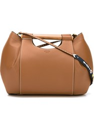 Tory Burch Wood Handle Detail Tote Bag With Detachable Shoulder Strap Nude And Neutrals