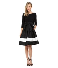 Adrianna Papell Color Blocked Taffeta Flared Skirt Dress Black Ivory Women's Dress