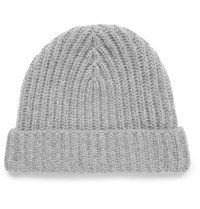 Loro Piana Ribbed Cashmere Beanie Light Gray