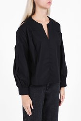 Rachel Comey Cut Out Sleeve Cotton Top Black
