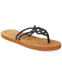 Roxy Cancun Braided Thong Sandals Women's Shoes Black