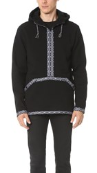White Mountaineering Fleece Lined Native Tape Hoodie Black