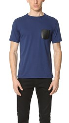 The Kooples Leather Pocket Tee Royal Blue Black