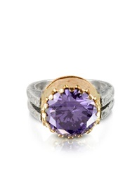 Try Purple Amethyst Cubic Zirconia Sterling Silver And Rose Gold Ring
