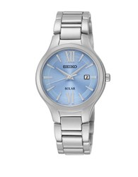 Seiko Ladies Dress Solar Stainless Steel Bracelet Watch Silver